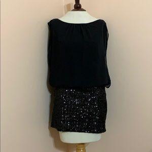 Aidan Mattox Black Dress with Sequin Skirt
